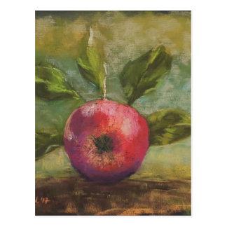 Originalvorlage, die roten Apfel malt Postkarte