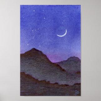 Orion u. sichelförmige Mond-Berge Poster