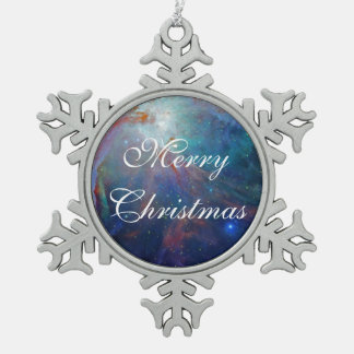 Orions-Nebelfleck in der shimmery Blau NASA Schneeflocken Zinn-Ornament