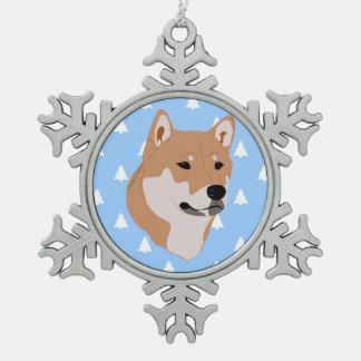 Ornement Flocon De Neige Motif d'arbre de Noël blanc de chien de Shiba Inu