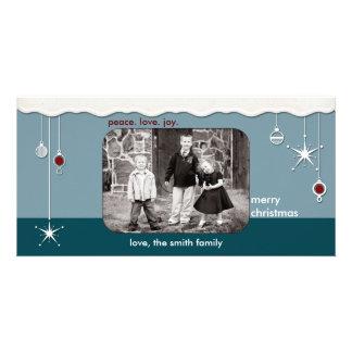 Ornements et salutation de Noël de neige Photocarte Personnalisée