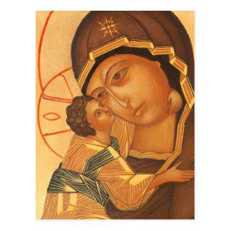 Orthodoxe Ikone der Jungfrau Mary und des Babys Postkarte