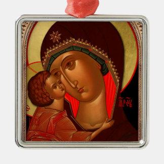 Orthodoxe Weihnachtsverzierung - Novgorod Quadratisches Silberfarbenes Ornament