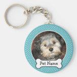 Os de chien et cadre bleu de photo d'animal famili porte-clefs
