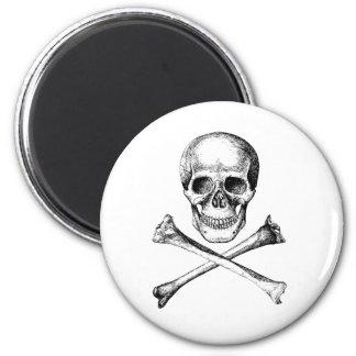 Os de crâne et de croix - gris magnet rond 8 cm