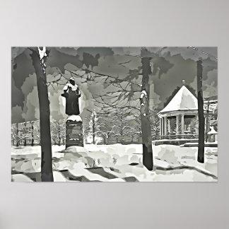 Oslo am NachtSchwarzweißfotografieplakat Poster
