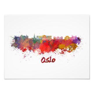 Oslo skyline im Watercolor Fotodruck