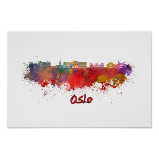 Oslo skyline im Watercolor Poster