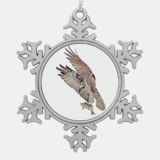 Osprey mit einem Fisch Schneeflocken Zinn-Ornament