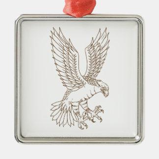 Osprey-Swooping Zeichnen Silbernes Ornament