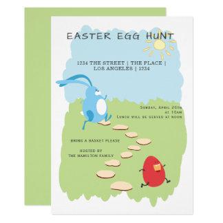 Osterei-Jagd-Häschen und Ei personalisiert Karte