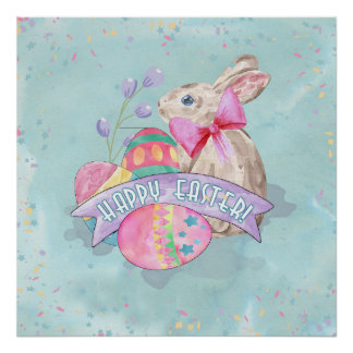 Osterhase, Eier und Confetti ID377 Poster