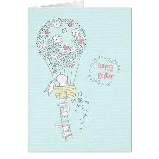 Osterhase im Heißluft-Ballon der Blumen blau Karte