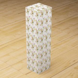 Osterhase mit Blumen-Cartoon Wein-Geschenkverpackung