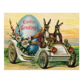 Osterhasen-Ei-Auto-Gänseblümchen Postkarte