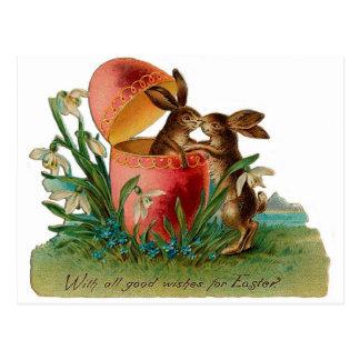Osterhasen-Kuss Vintag Postkarte