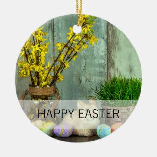 Osterhasen-und Ei-Szene Rundes Keramik Ornament