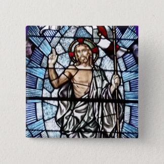 Ostern: Auferstehung von Christus-Buntglas Quadratischer Button 5,1 Cm