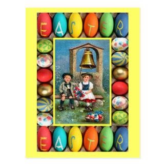 Ostern - bayerische Kinder mit Eiern Postkarte