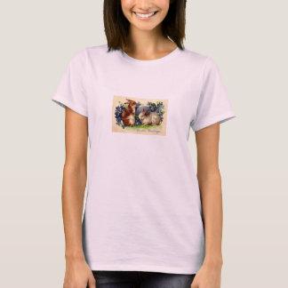 Ostern-Gruß-antikes Postkarten-Druck-Damen-T-Stück T-Shirt