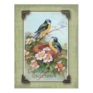 Ostern-Gruß-blauer Vogel-Vintage Wiedergabe Postkarte
