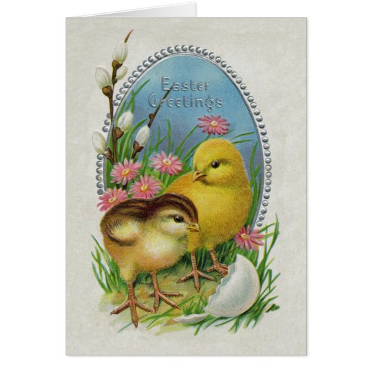 Ostern-Gruß-gelbe Küken-Blumen Karte