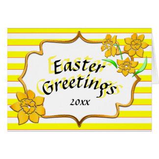 Ostern-Gruß-gelbe Streifen-gelbe Narzissen Grußkarte