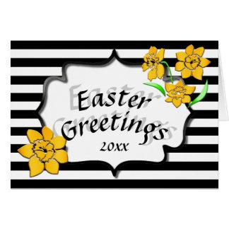 Ostern-Gruß-schwarze Streifen-gelbe Narzissen Karte