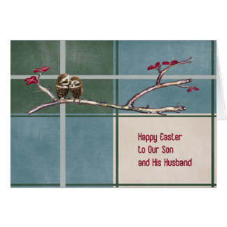 Ostern-Karte für den Sohn und Ehemann kariert mit Karte