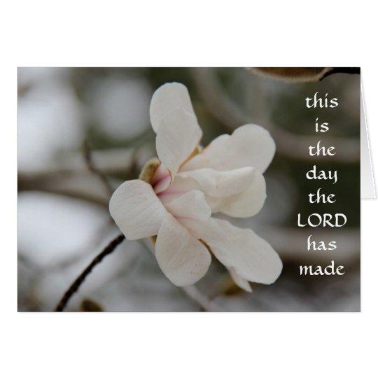 Ostern-Karte: Magnolien-Blüte, w-Vers des Glaubens Grußkarte