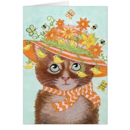 Ostern-Katze in Ostern-Mütze mit Schmetterlingen Karte