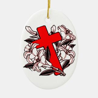 Ostern-Kreuz Ovales Keramik Ornament