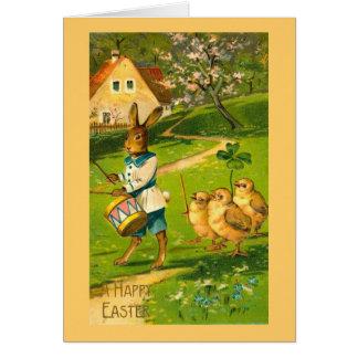 Ostern-Parade mit dem Kaninchen u. Küken Vintag Karte