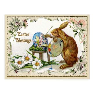Ostern-Segen-Künstler-Häschen-Vintage Wiedergabe Postkarte