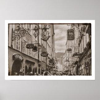 Österreich-Einkaufsstraßen-Zeichen-Butike-Märkte Poster