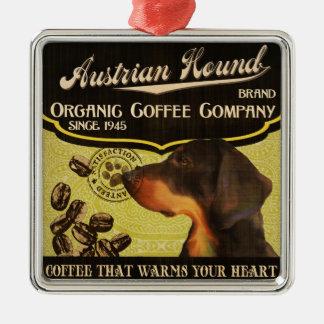 Österreichische Jagdhund-Marke - Organic Coffee Quadratisches Silberfarbenes Ornament