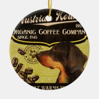 Österreichische Jagdhund-Marke - Organic Coffee Rundes Keramik Ornament