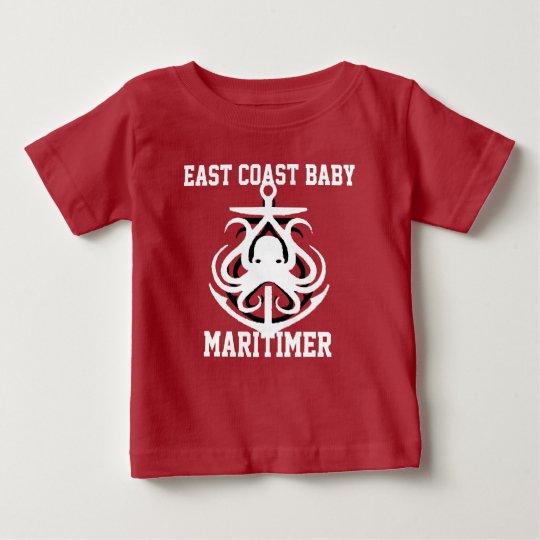 Ostküsten-Baby Maritimer Anker-Krakenrot Baby T-shirt