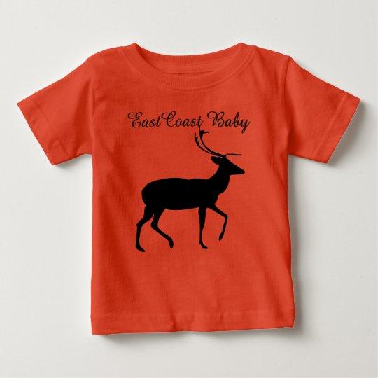Ostküsten-Baby-Weihnachtsrotwild-Orangen-Shirt Baby T-shirt