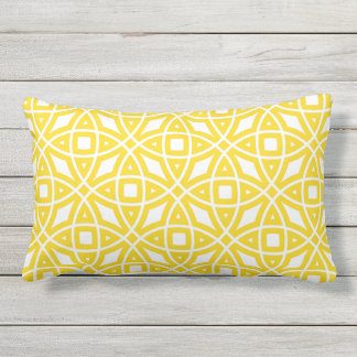 Östliches geometrisches Muster-sonniges Gelb Kissen Für Draußen
