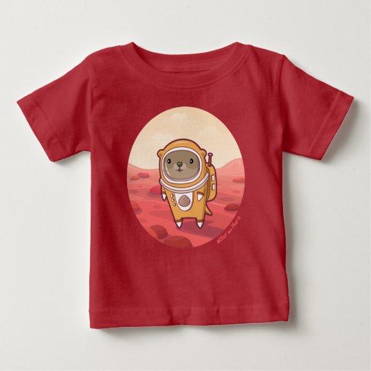 "Otter auf Mars ""hallo dort"" Baby-T - Shirt im Rot"