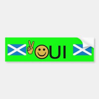 Oui Friedenssmiley-schottischer Autoaufkleber