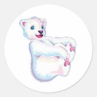 Ours blanc espiègle sticker rond