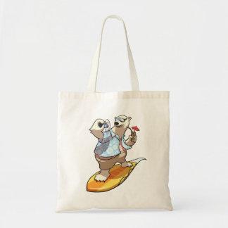 Ours blanc surfant frais avec la bande dessinée de sac en toile budget