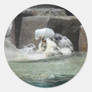 Ours blancs autocollant rond