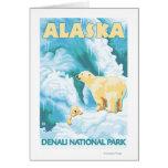Ours blancs et CUB - parc national de Denali, Alas Carte De Vœux