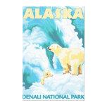 Ours blancs et CUB - parc national de Denali, Alas Impression Sur Toile