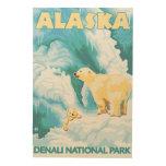 Ours blancs et CUB - parc national de Denali, Canevas En Bois