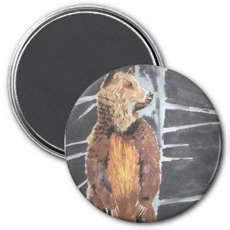 Ours gris magnet rond 7,50 cm