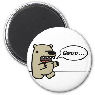 Ours gris magnet rond 8 cm
